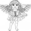 Pretty angel girl with wings black outline for coloring — Stock Vector