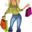 Stock Vector: Pretty blond shopping glamor girl