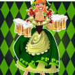Stock Vector: Pretty leprechaun girl in green with beer on green background