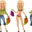 Pretty nude blond shopping glamor girl and blond in clothe — Stock Vector