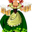 Pretty leprechaun girl in green with beer — Stock Vector