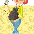 Pretty pregnant woman with phone on baby background — Stock Vector