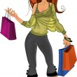 Stock Vector: Pretty shopping glamor girl