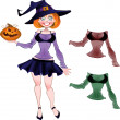 Pretty witch with pumpkin and set of different colours blouse — Imagens vectoriais em stock