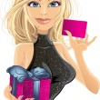 Pretty young girl in black dress with card and gift — Stock Vector