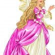 Princess in pink dress — Stockvectorbeeld