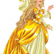 Princess in yellow dress — Vector de stock #33358505