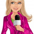 Reporter blond girl in pink with microphone — Stock Vector #33358679