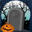 Halloween decoration - a grave with a pumpkin in the night — Stock Vector