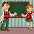 Schoolgirl and Schoolboy with a blackboard on classroom — Stock Vector
