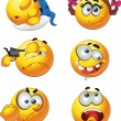 Set of butch fun round emotion smiles character — Stock Vector #33358937