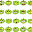 Stock Vector: Set of smiles apples