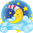 Sleeping yellow vector moon in cap on the cloud — Stock Vector