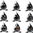 Smilies Oil or Petroleum vector Black Drops — Stock Vector