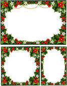 Collection of beautiful decorative frames, garlands of holly, flowers, berries and mistletoe — Stock Vector