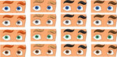 Color eyes look in the men face — Stock Vector