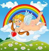 Cupidon s lukem a šípem na mrak — Stock vektor