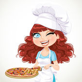 Cute curly hair girl chef offers a taste of pizza — Stock Vector