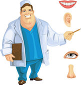 Cute fat doctor showing on part of the face — Vector de stock