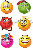 Set of batch emotions smiles — Stock Vector