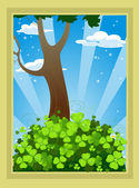Fairytale landscape with clover and tree — Stock Vector