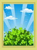 Fairytale landscape with clover — Stock Vector