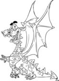 Fairytale Dragon black outline for coloring — Stock Vector