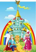 Belo príncipe pediu a mão da princesa perto magic castle — Vetorial Stock