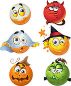 Set of batch vector halloween round smiles — Stock Vector