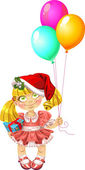 Little fairy in red dress with balloons in red Santa's hood — Stock Vector