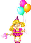 Little fairy in pink dress with balloons — Stock Vector