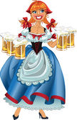 October fest girl with beer vector — Stock Vector
