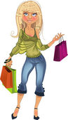 Pretty blond shopping glamor girl — Stock Vector