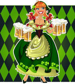 Pretty leprechaun girl in green with beer on green background — Stock Vector