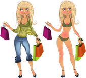 Pretty nude blond shopping glamor girl and blond in clothes — Stock Vector