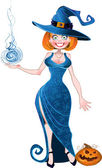 Pretty witch with fireball in blue dress and pumpkin — Stock Vector