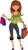 Pretty shopping glamor girl — Stock Vector