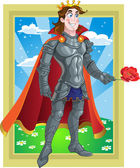 Prince Charming in armour give flover on Fairytale landscape — Stock Vector