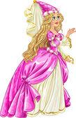 Princess in pink dress — Stock Vector