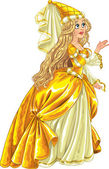 Princess in yellow dress — Stock Vector