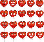 Red Valentine balloon smiles set — Stock Vector