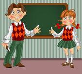 Schoolgirl and Schoolboy with a blackboard on classroom — Stock Vector