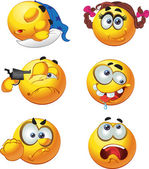 Set of butch fun round emotion smiles character — Stock Vector