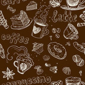 Seamless pattern with coffee cakes pies latte and cappuccino on dark background — Stock Vector