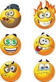 Set of batch vector round smiles emotion crazy and money — Stock Vector