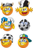 Set of batch football round smiles — Stock Vector