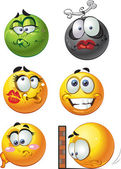 Set of batch round emotion smiles — Stock Vector