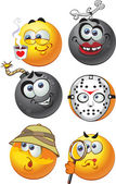 Set of batch vector round smiles emotion — Stock Vector