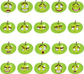 Set of smiles apples — Stock Vector