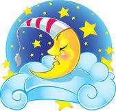 Sleeping yellow vector moon in cap on the cloud — Stock Vector